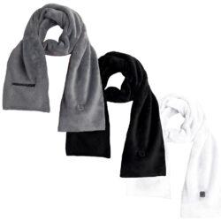 Opvarmet halstørklæde - sort hvid grå
